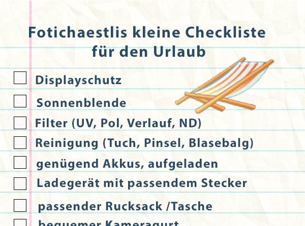 Checkliste für die Ferien